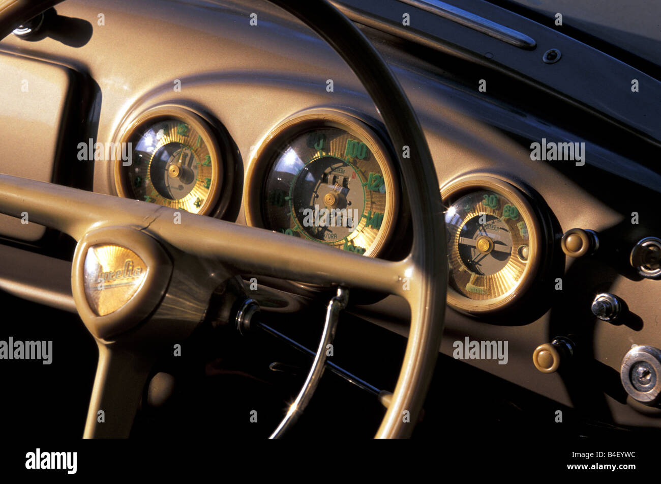 Car, Lancia Aurelia B 20 GT, vintage car, silver-grey, Coupé, Coupe, 1950s, fifties,  detail, details, interior, - Stock Image