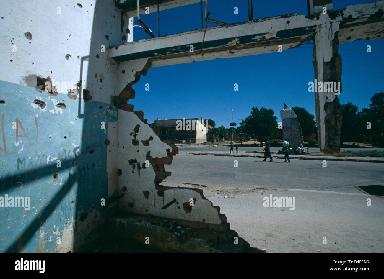 Buildings damaged by the civil war in Angola. - Stock Image