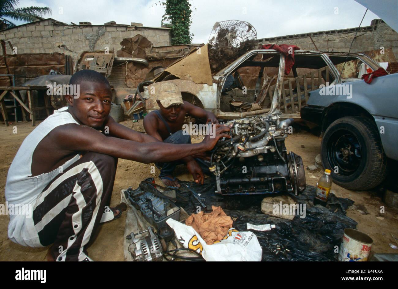 A mechanic workshop in Angola. Stock Photo