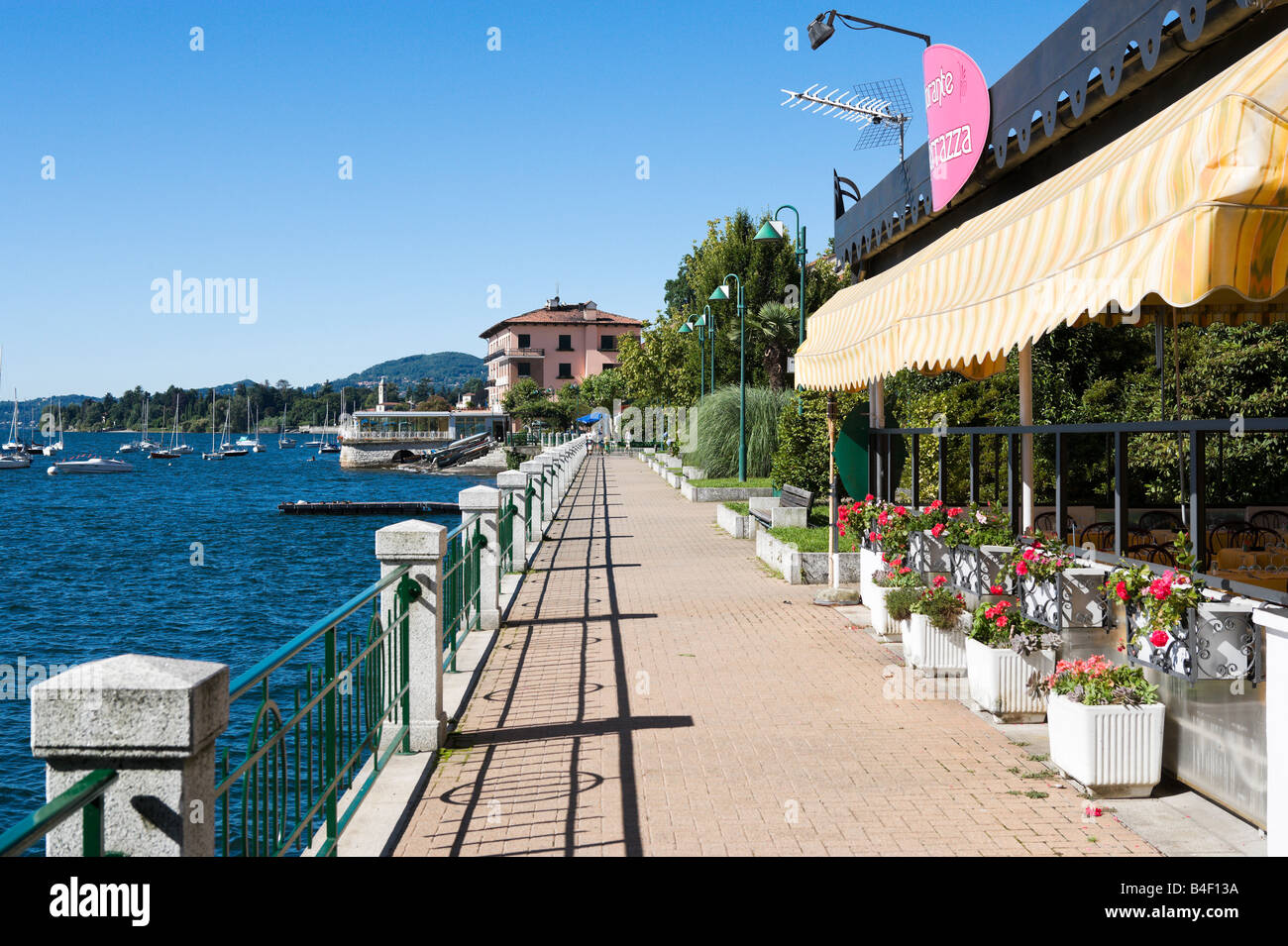 Lakefront in the centre of the resort of Belgirate with Best Western Hotel Milano in the distance, Lake Maggiore, - Stock Image