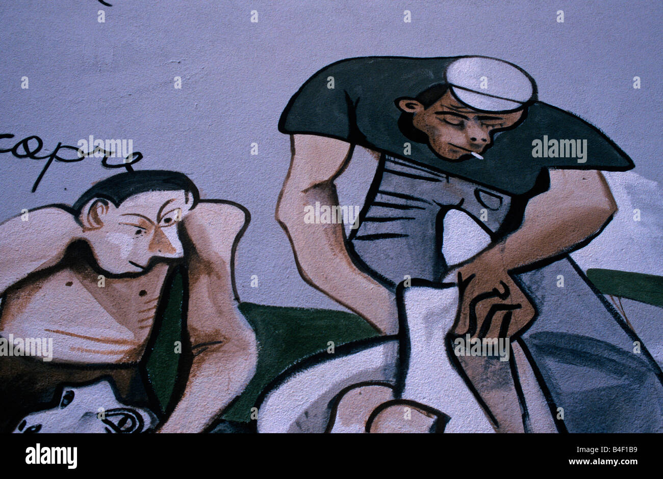 Mural illustrating social issues in Italy - Stock Image
