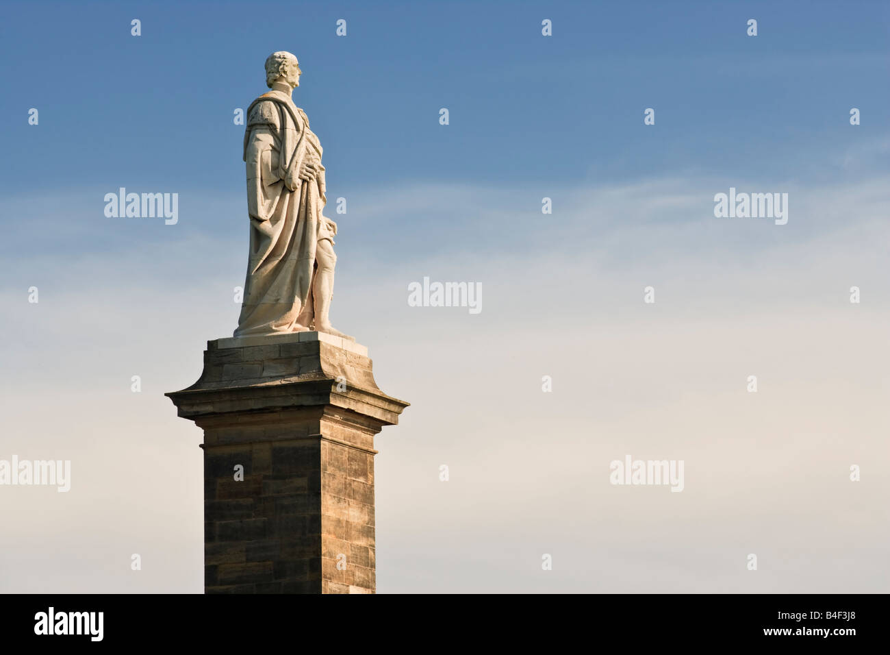 Monument to Admiral Lord Collingwood situated near Tynemouth overlooking the River Tyne, North Tyneside, England Stock Photo
