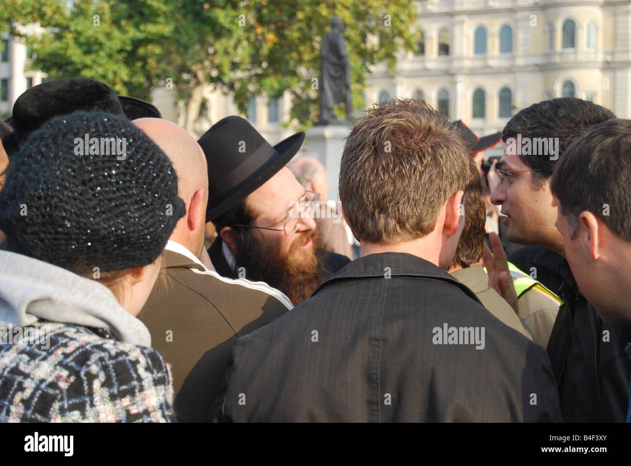 Anti Israeli protest Trafalgar square - Stock Image