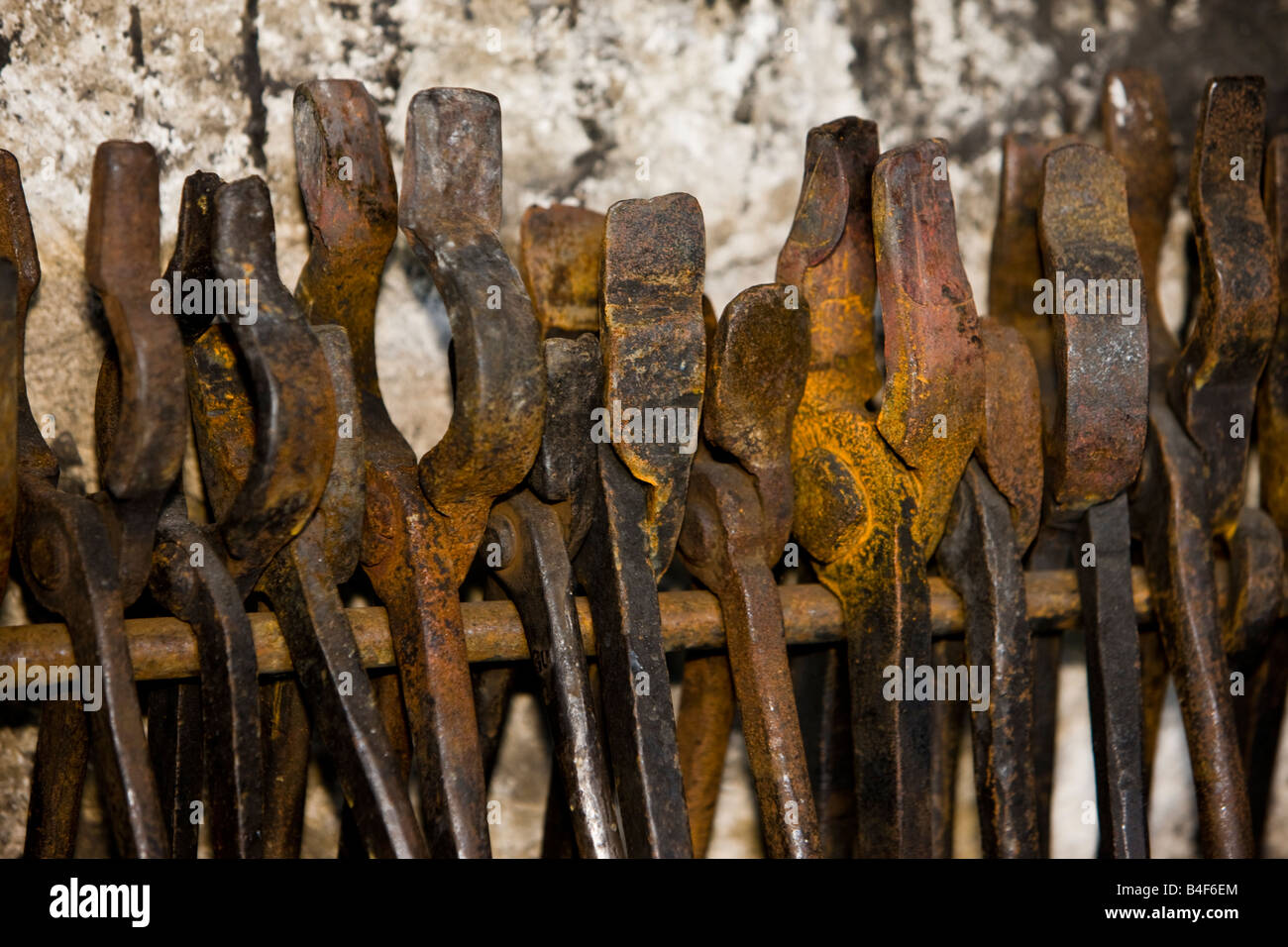 Tools on display in the Blacksmith Shop, Lower Fort Garry - a National Historic Site, Selkirk, Manitoba, Canada. - Stock Image