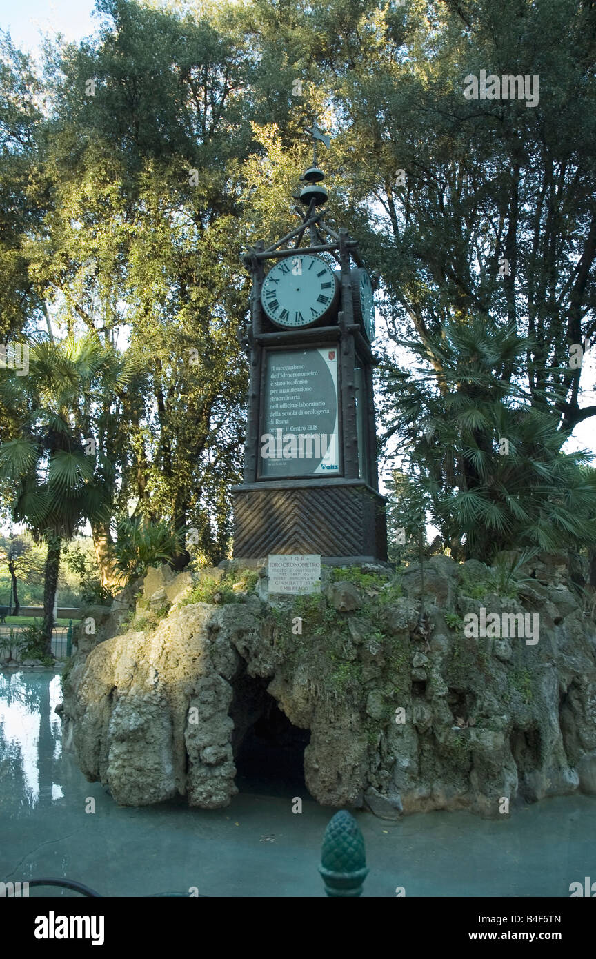 Hydrochronometer or Water clock in the beautiful Villa Borghese Park, Rome, Italy. - Stock Image