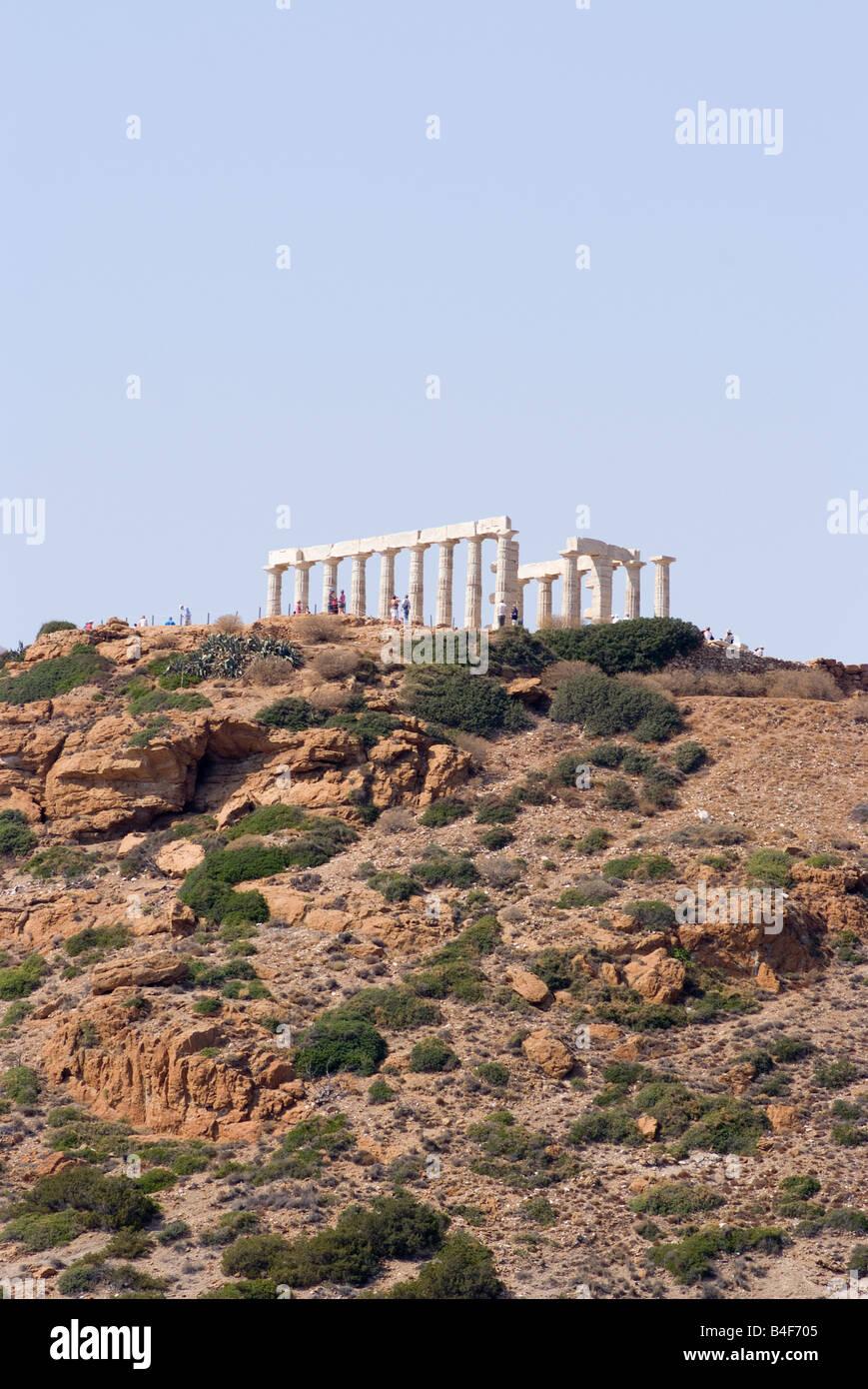 The Temple of Poseidon at Cape Sounion Saronic Gulf Greek Mainland Aegean Greece - Stock Image