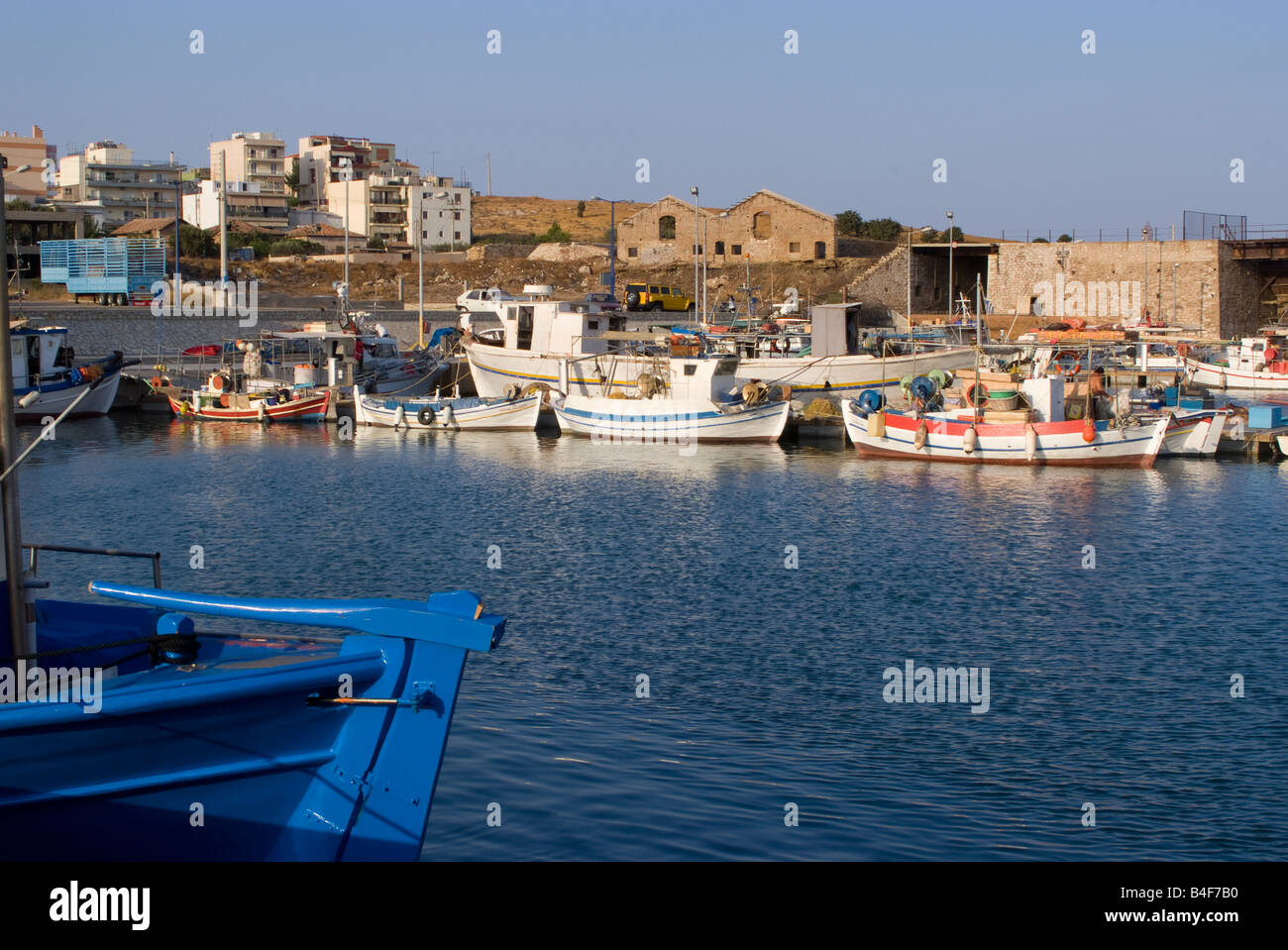 Part of the Inshore Greek Fishing Fleet in Lavrion Harbour Greek Mainland Aegean Sea Greece - Stock Image