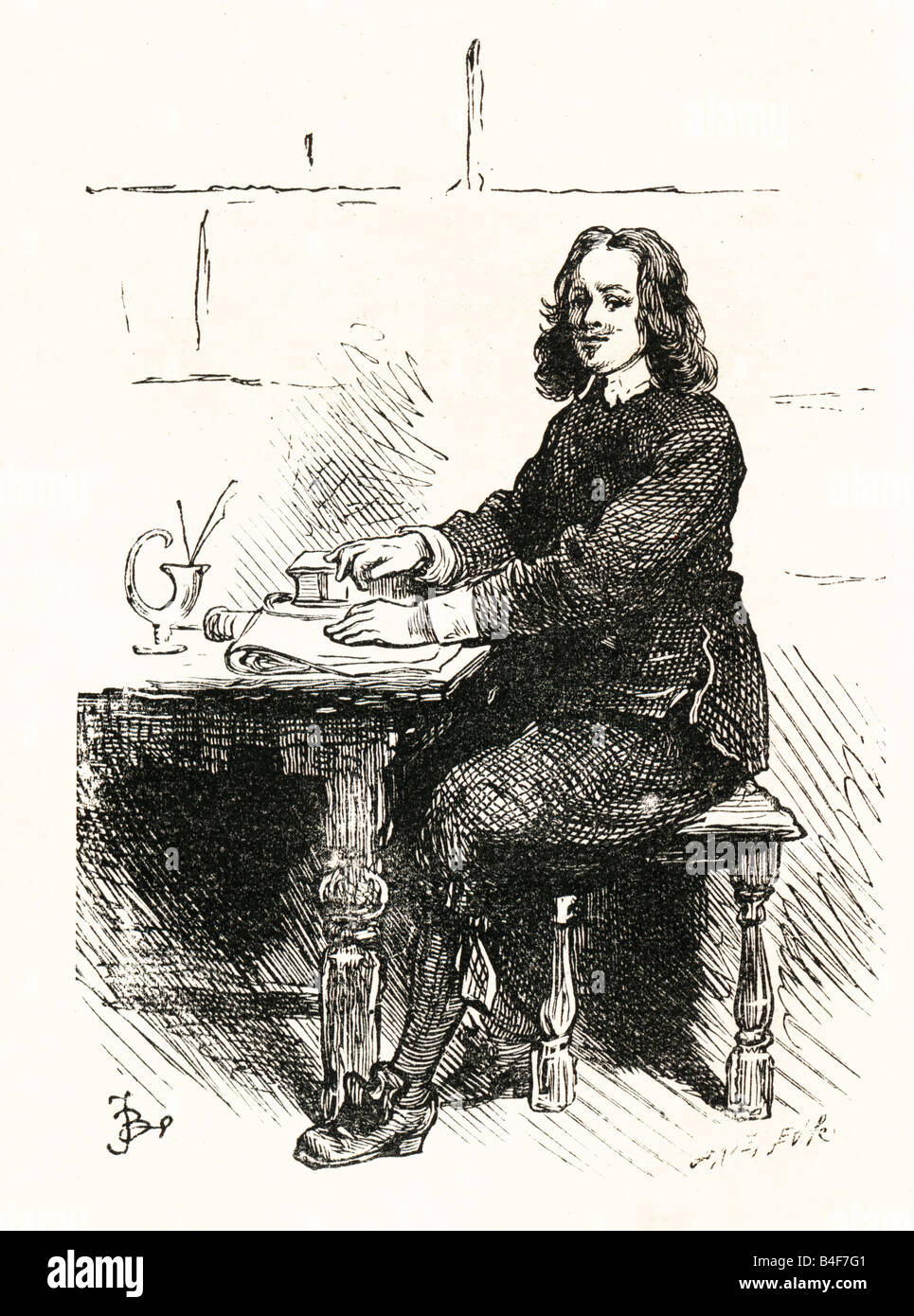 Steel Engraving 1896 of John Bunyan in Bedford Gaol  writing the Pilgrim's Progress FOR EDITORIAL USE ONLY - Stock Image