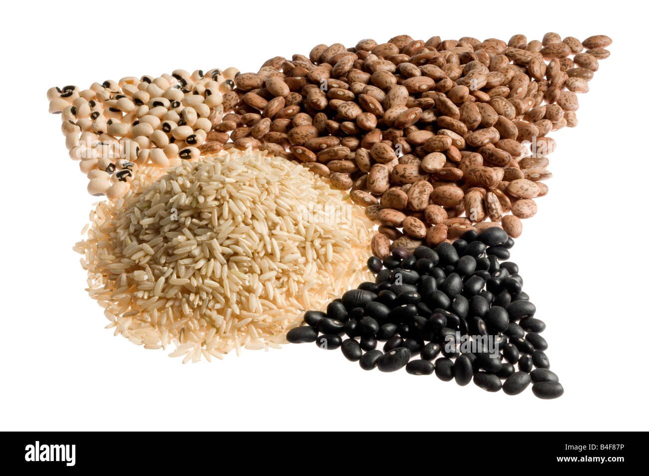 pinto beans, black beans, brown rice, blackeyed, peas, Stock Photo