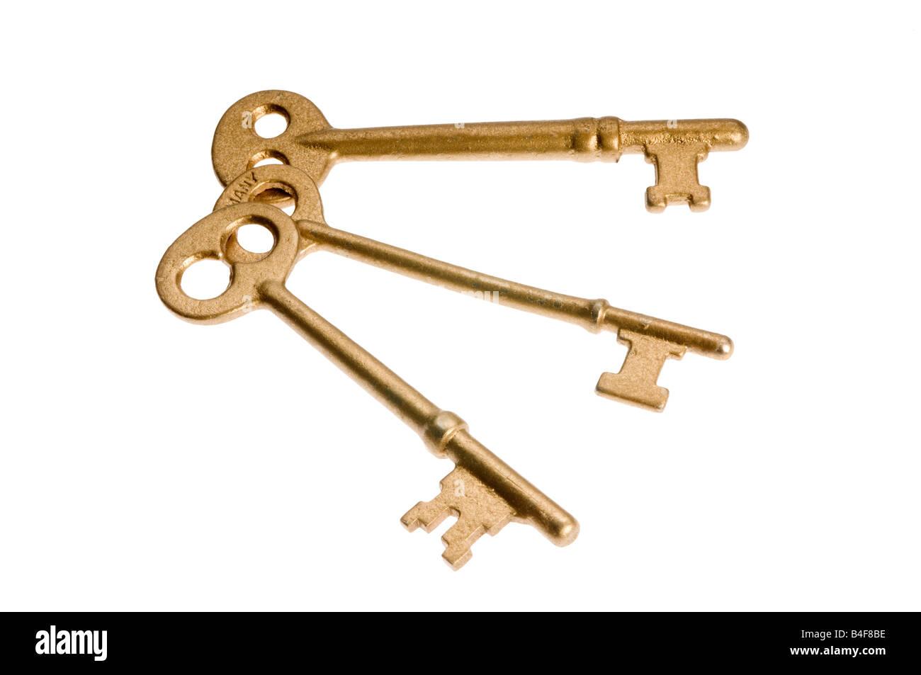 Three skeleton keys on white - Stock Image
