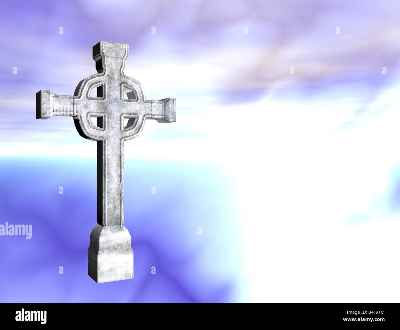 Rendered stone cross or crucifix celtic version - Stock Image
