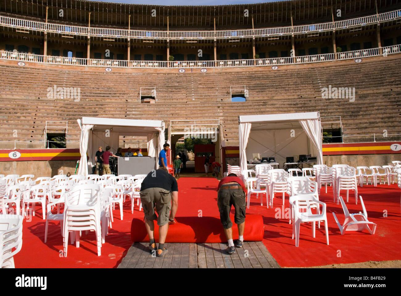 Bullring Palma Mallorca Spain Preparations underway backstage for a production of Carmina Burana Monumental Opera - Stock Image