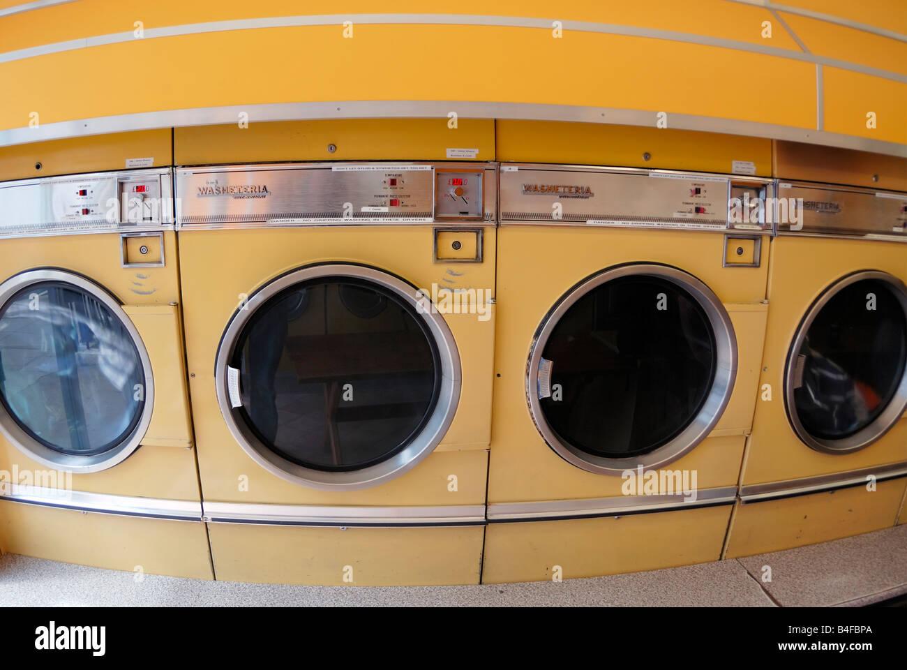 Washing machines at Launderette - Stock Image