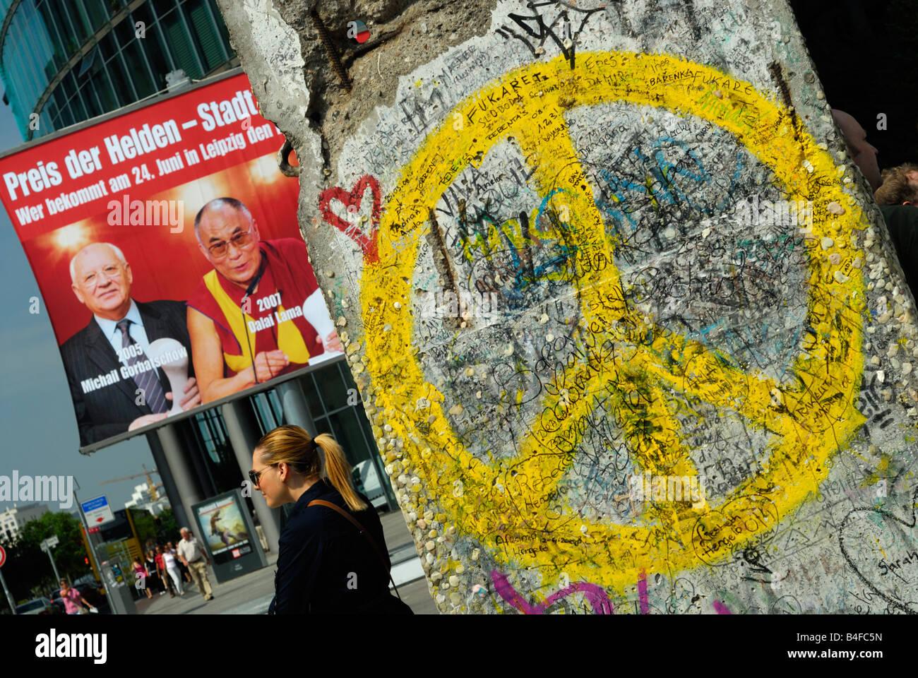 Peace Symbol painted on Berlin Wall at Potsdamer Platz in Berlin ...
