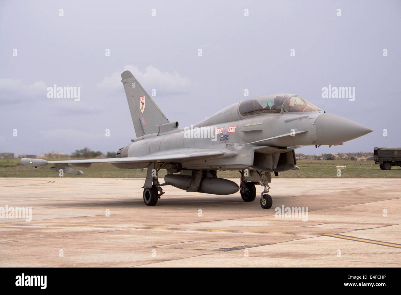 Eurofighter Typhoon T1 of the Royal Air Force on arrival at Malta International Airport Stock Photo