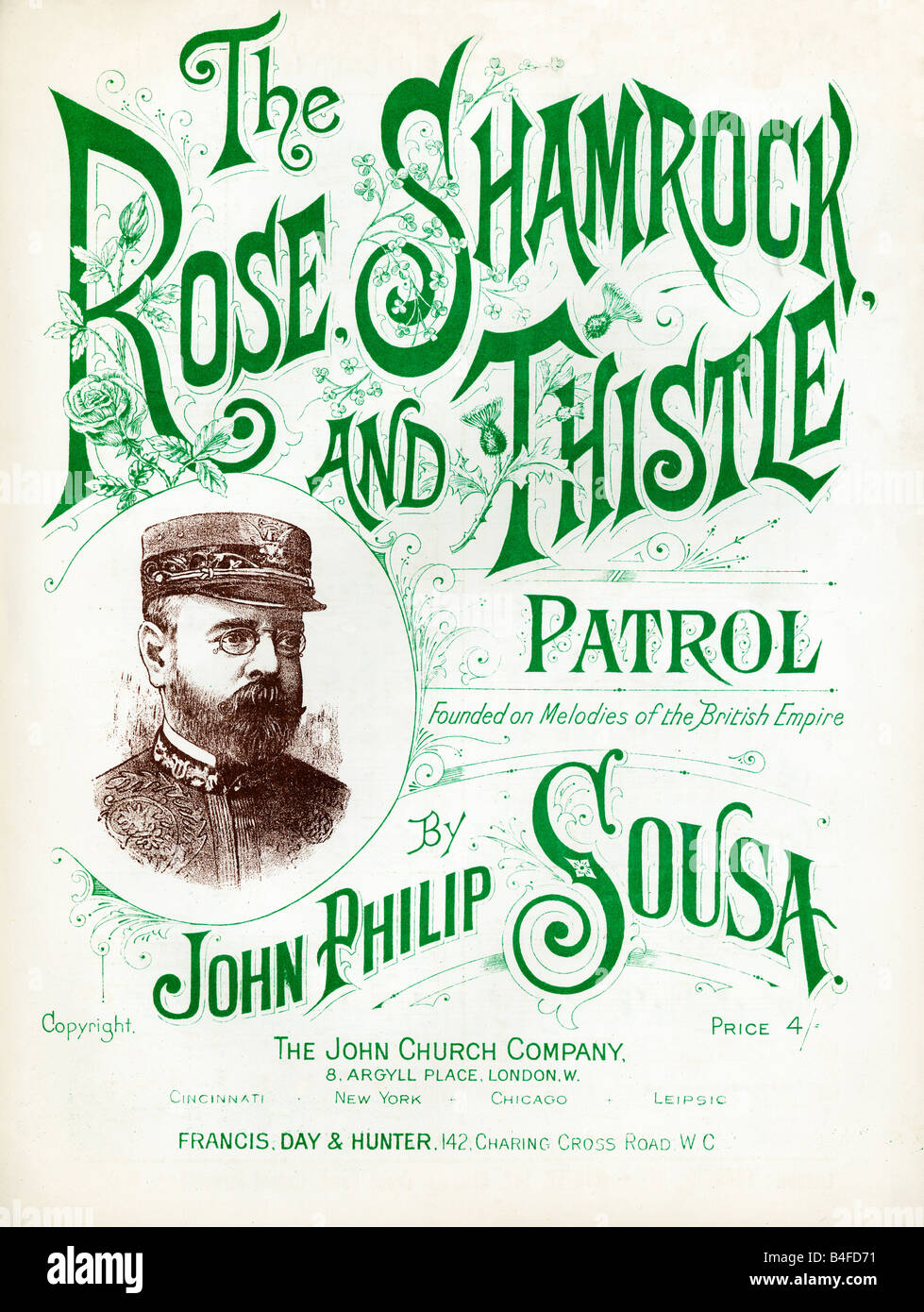 The Rose Shamrock and Thistle Patrol 1901 music sheet cover for a tune Founded on Melodies of the British Empire - Stock Image