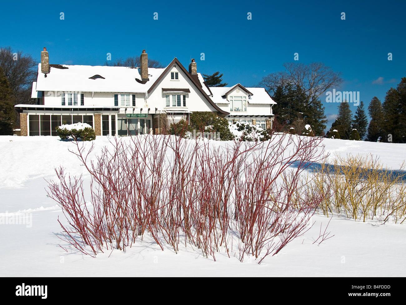 A brisk winter scene at Gairloch Gardens Oakville Ontario Canada - Stock Image
