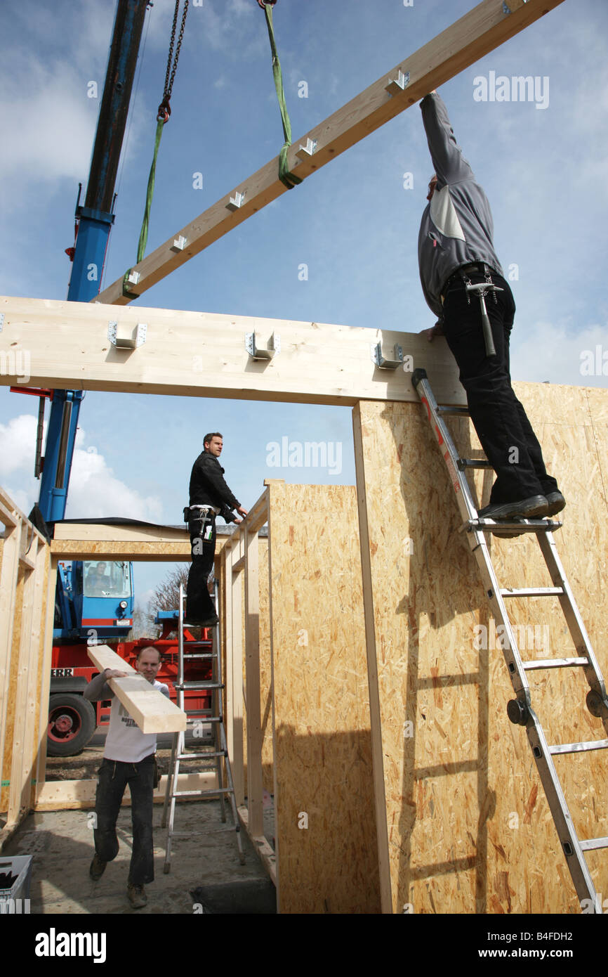 DEU Germany Recklinghausen Construction site of a wooden house Stock Photo
