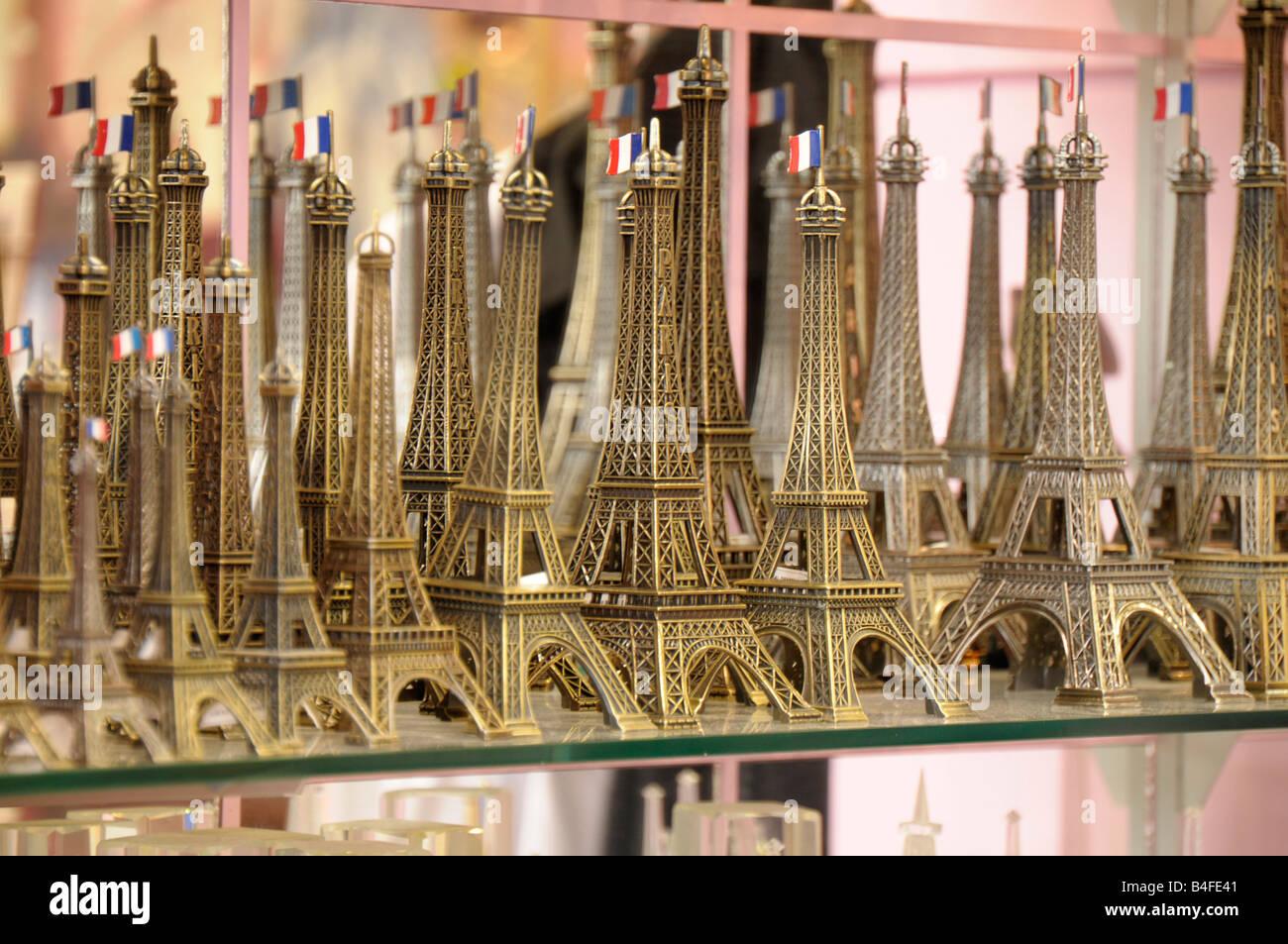 miniature Eiffel Tower in a souvenir shop in Paris France