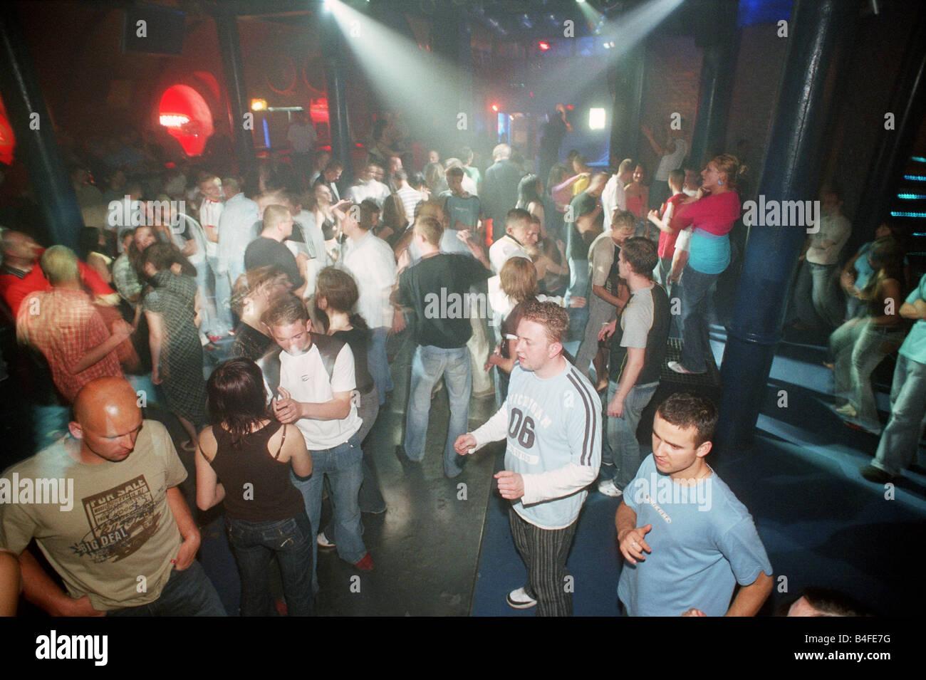 Crowded dance floor in the club –Lodz Kaliska- in Lodz, Poland Stock Photo