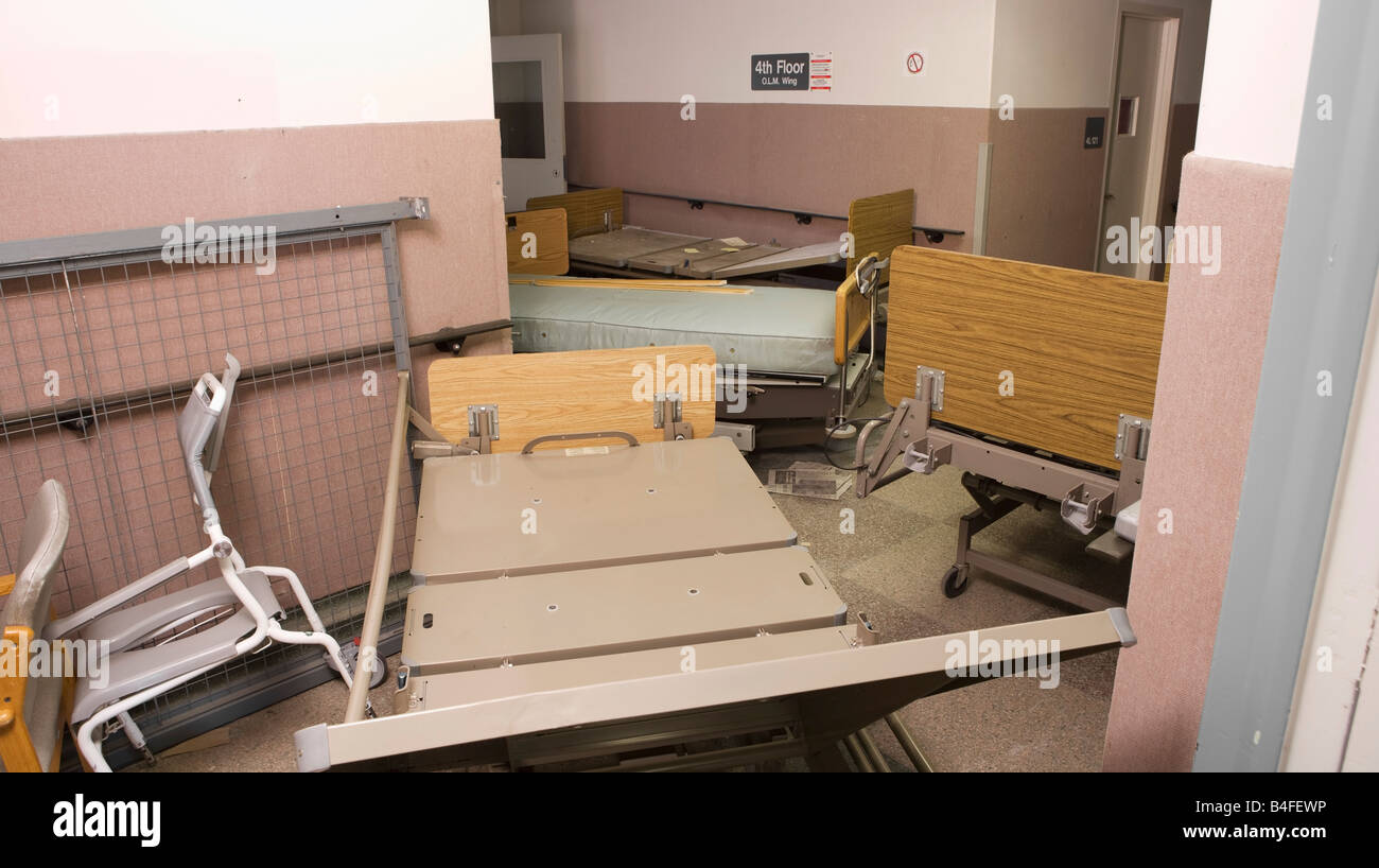 An abandoned hospital wing at the St. Josephs Medical Centre that was demolished after these photographs were taken - Stock Image