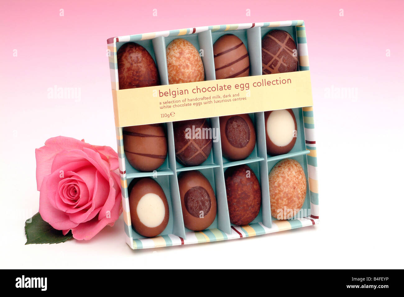Milk, white and dark Belgian chocolate miniature Easter eggs in a gift box Stock Photo