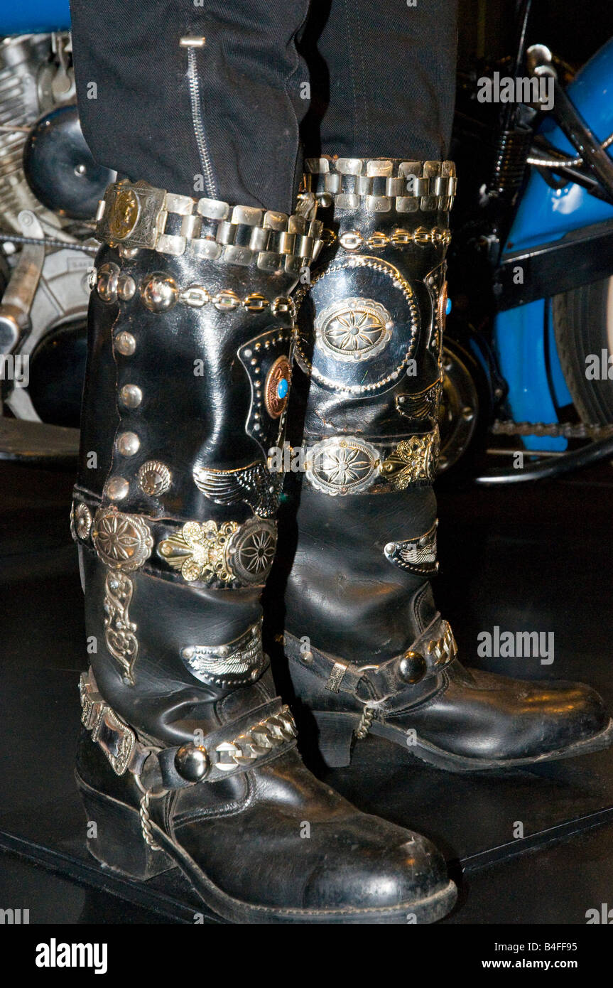 German style motorcycle boots on display at the Harley-Davidson Museum in  Milwaukee, Wisconsin