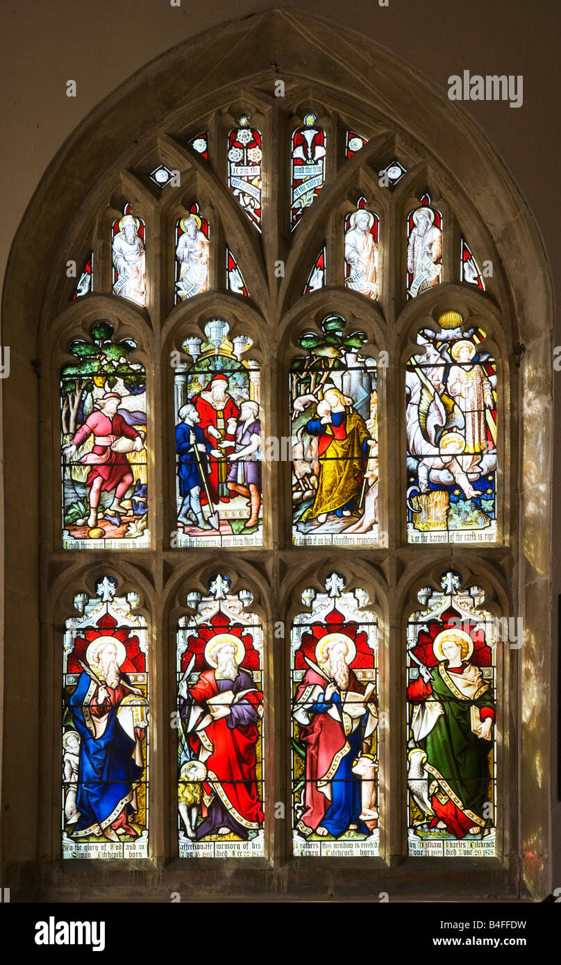 Stained glass window in the typical English country village church of All Saint's Church, All Cannings, Wiltshire, Stock Photo
