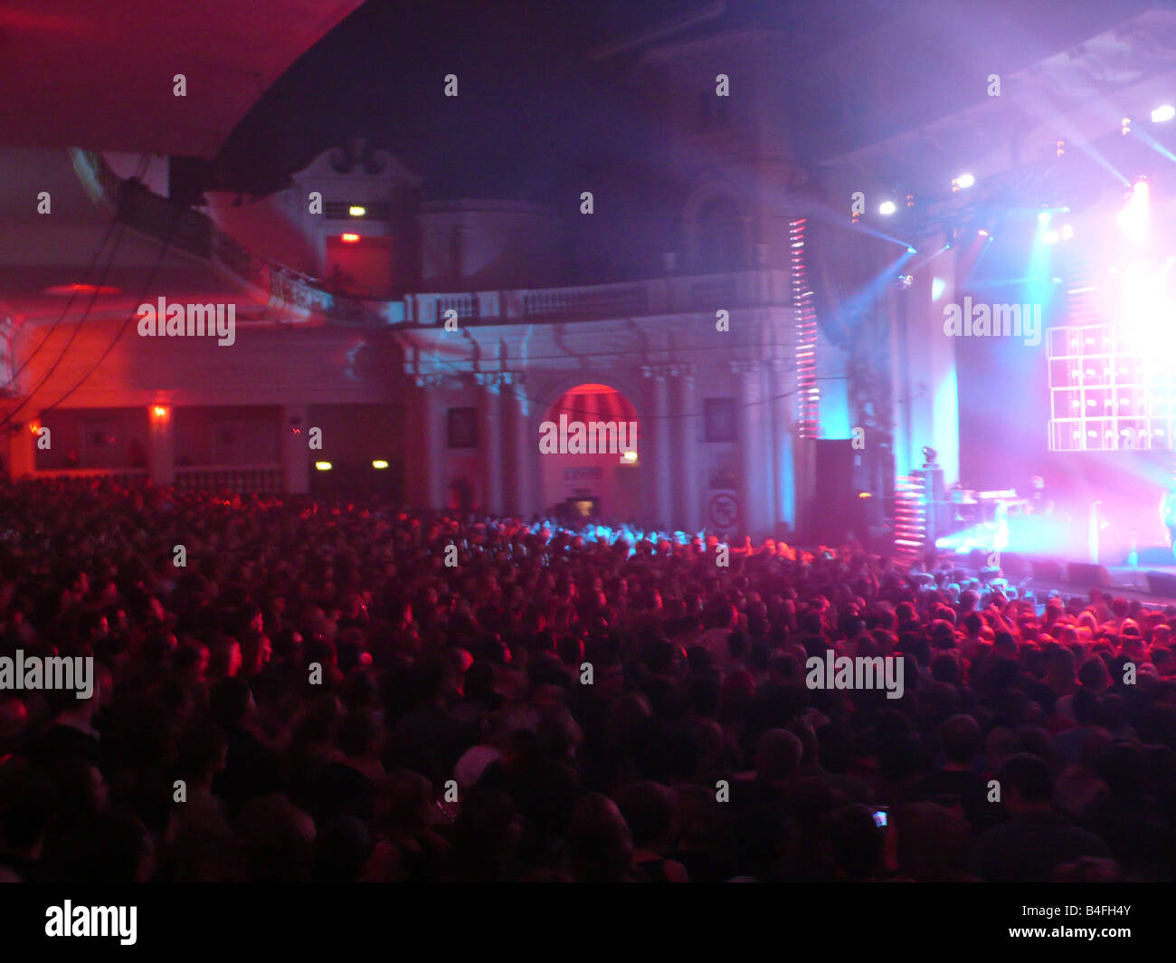 Crowd of people in he gig at the Brixton Academy, London, UK 2008 Stock Photo