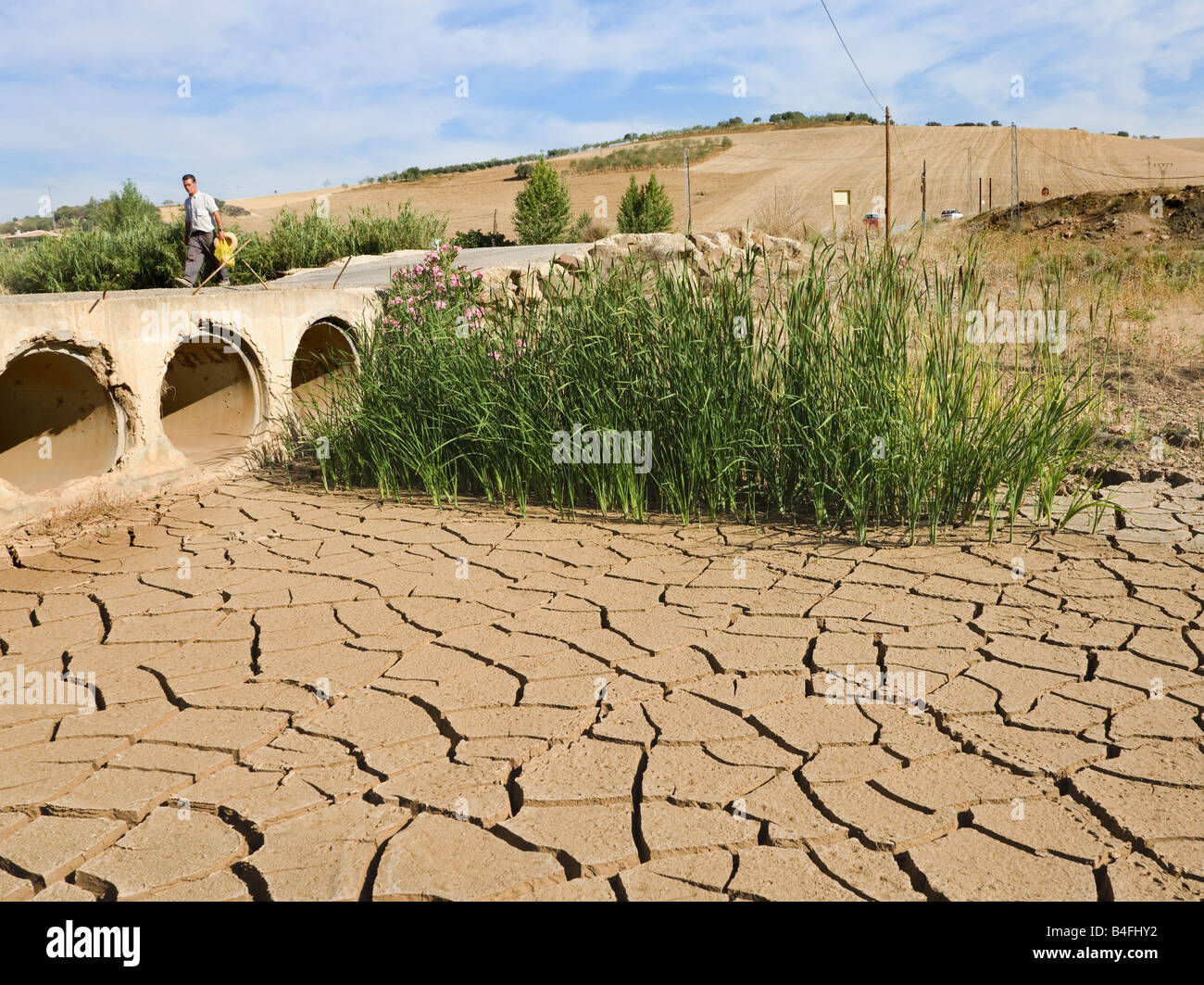 Dried river bed during drought La Alcaide near Casabermeja Spain - Stock Image