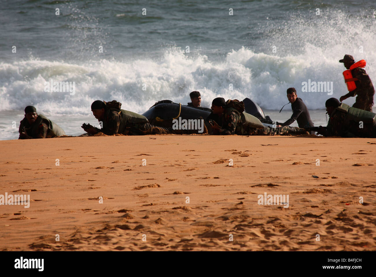 Amphibion excercise by Indian army in Trivandrum,Kerala,India - Stock Image