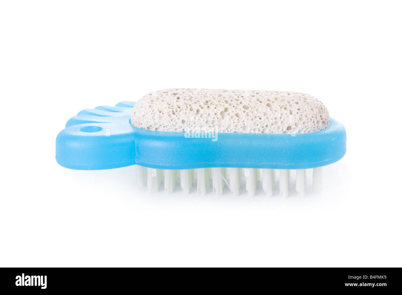 Brush and pumice stone for foot care isolated on white background - Stock Image