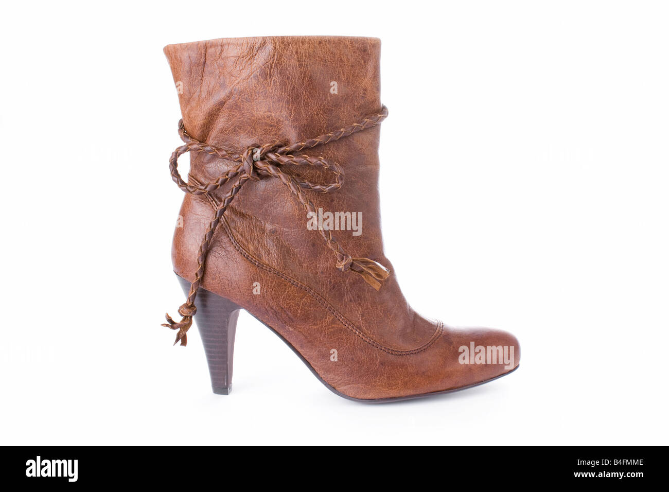 Hig heels half boot isolated on white background - Stock Image