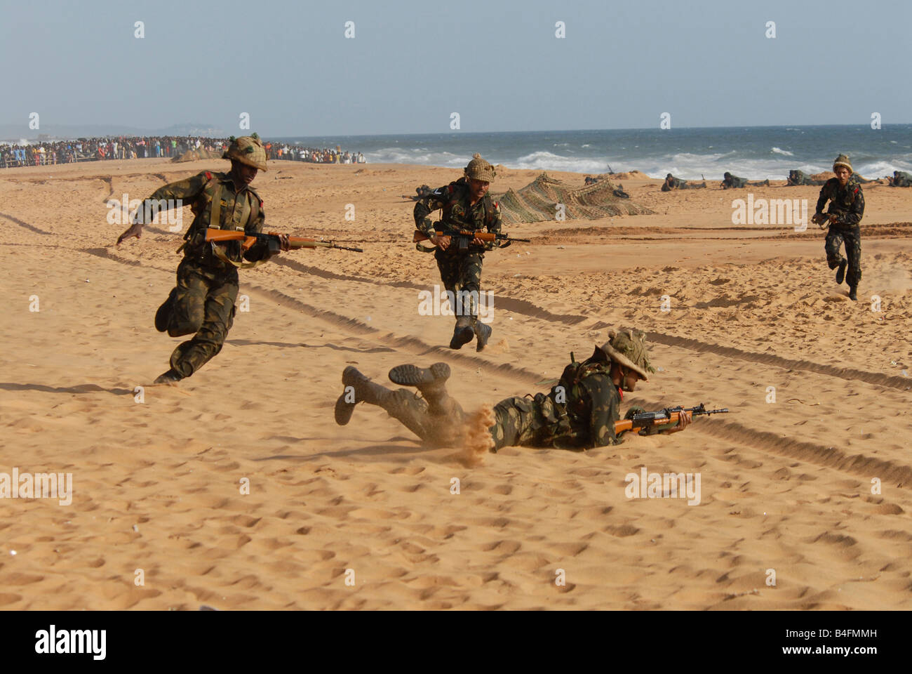 Indian Army demo excercise on an indian beach - Stock Image