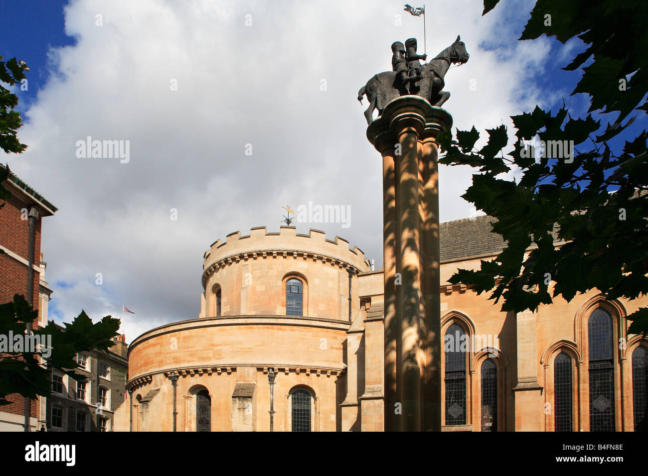The Temple Church and Templars statue The City of London England - Stock Image