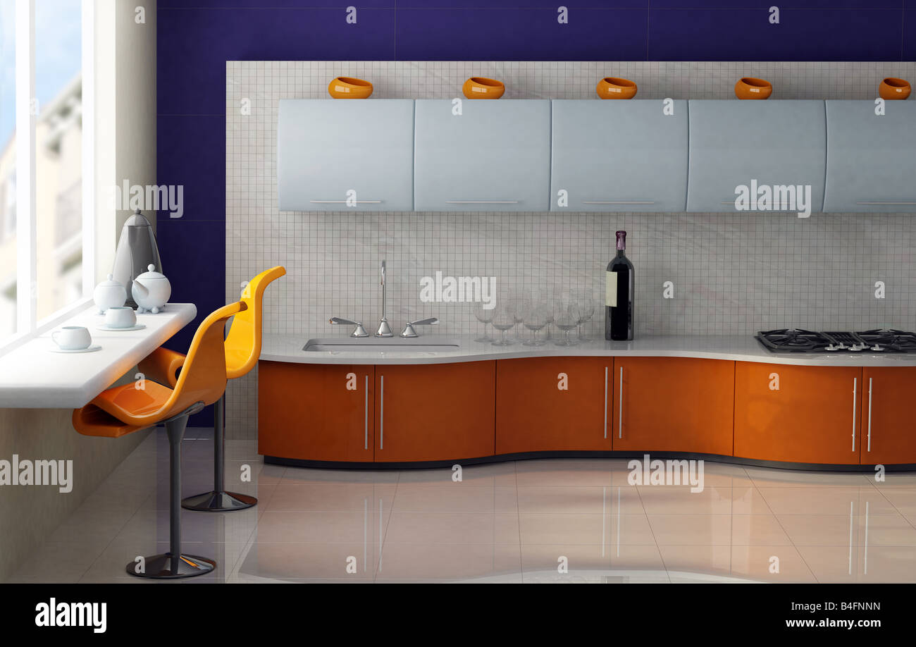 Modern Kitchen With Orange And Blue Cabinets Stock Photo Alamy