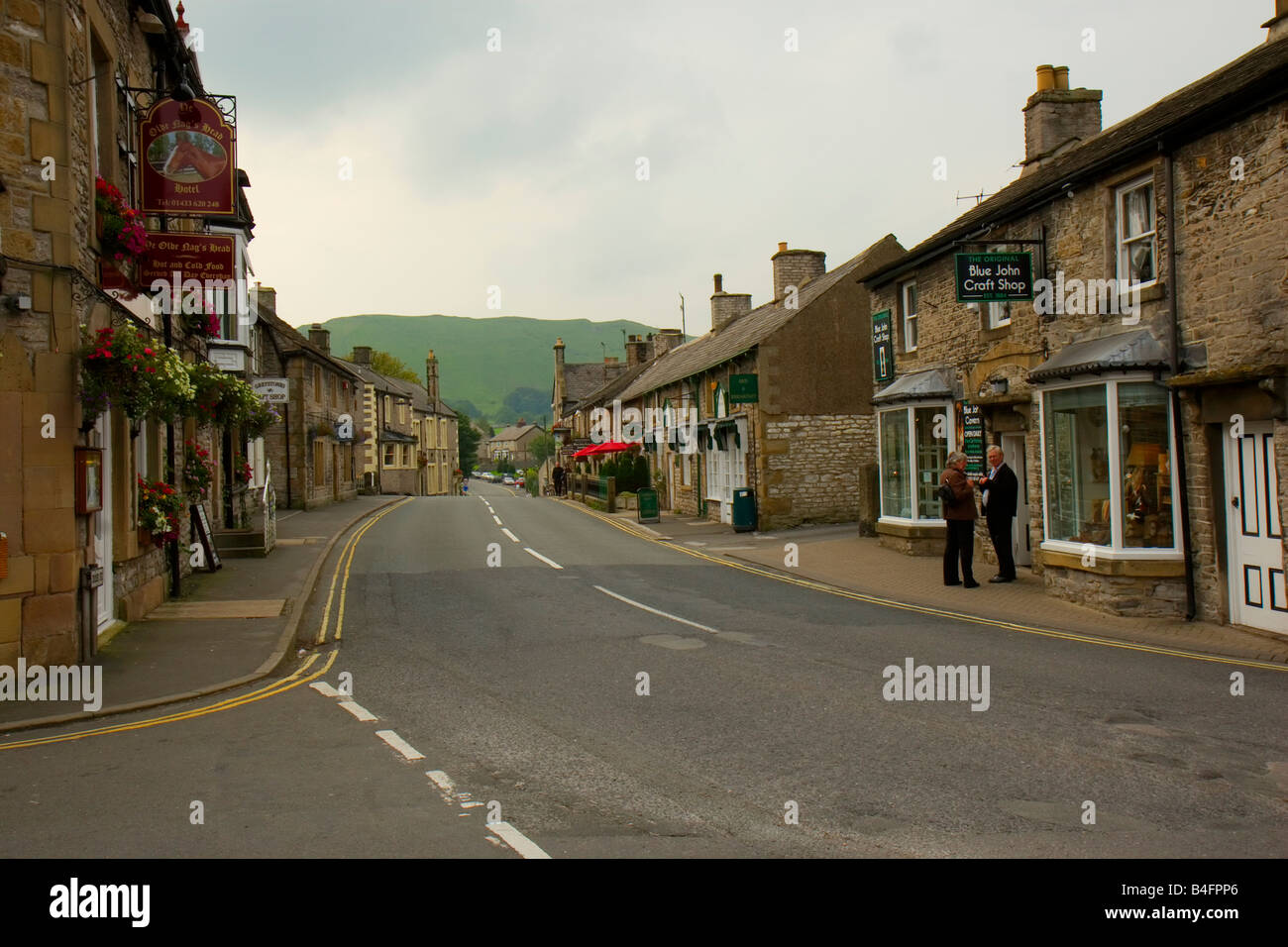 The Main street in Castle village Derbyshire Peak District September 2008 - Stock Image