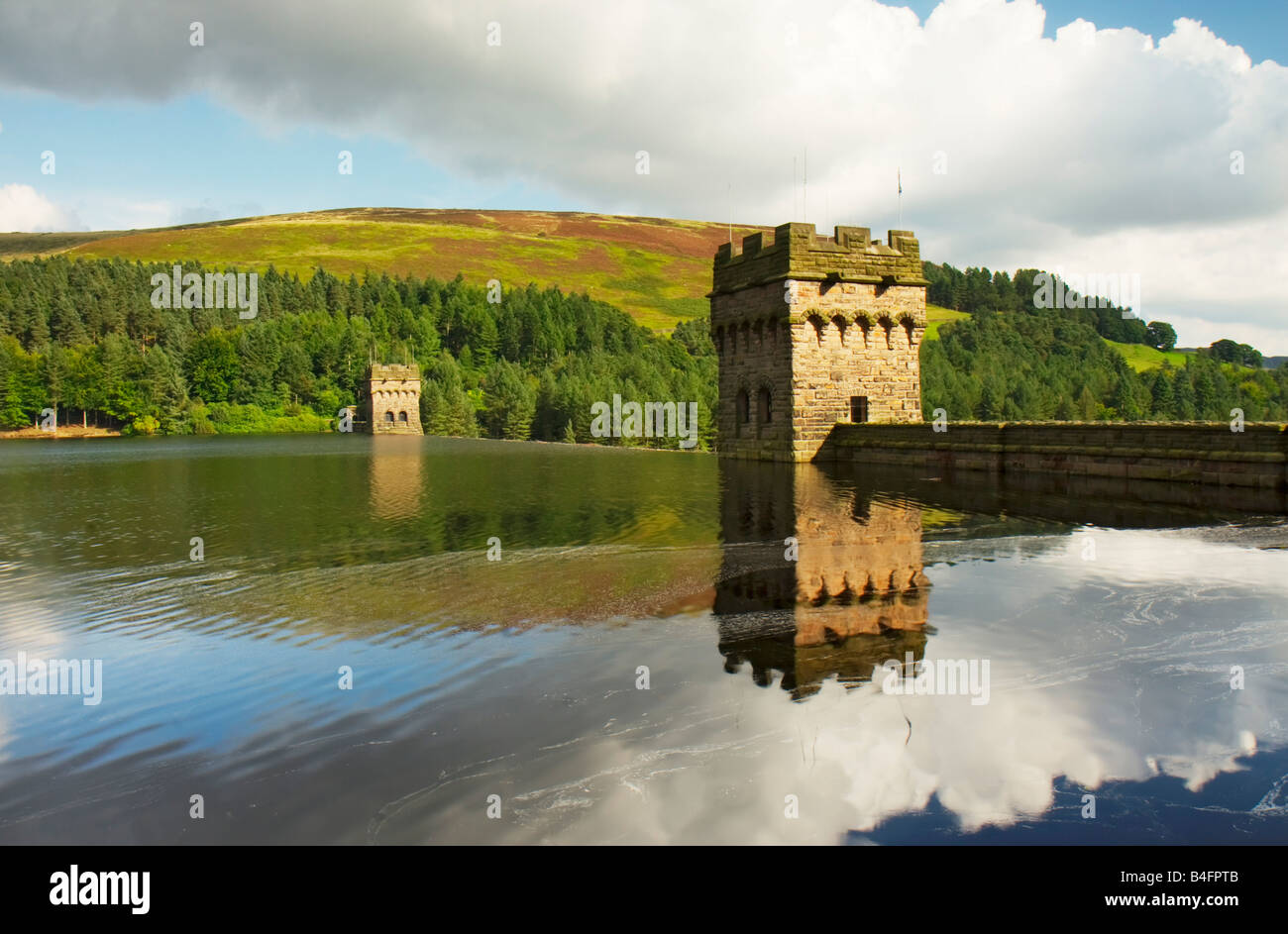 Derwent Dam reflection in the water of the reservoir Peak District September 2008 - Stock Image