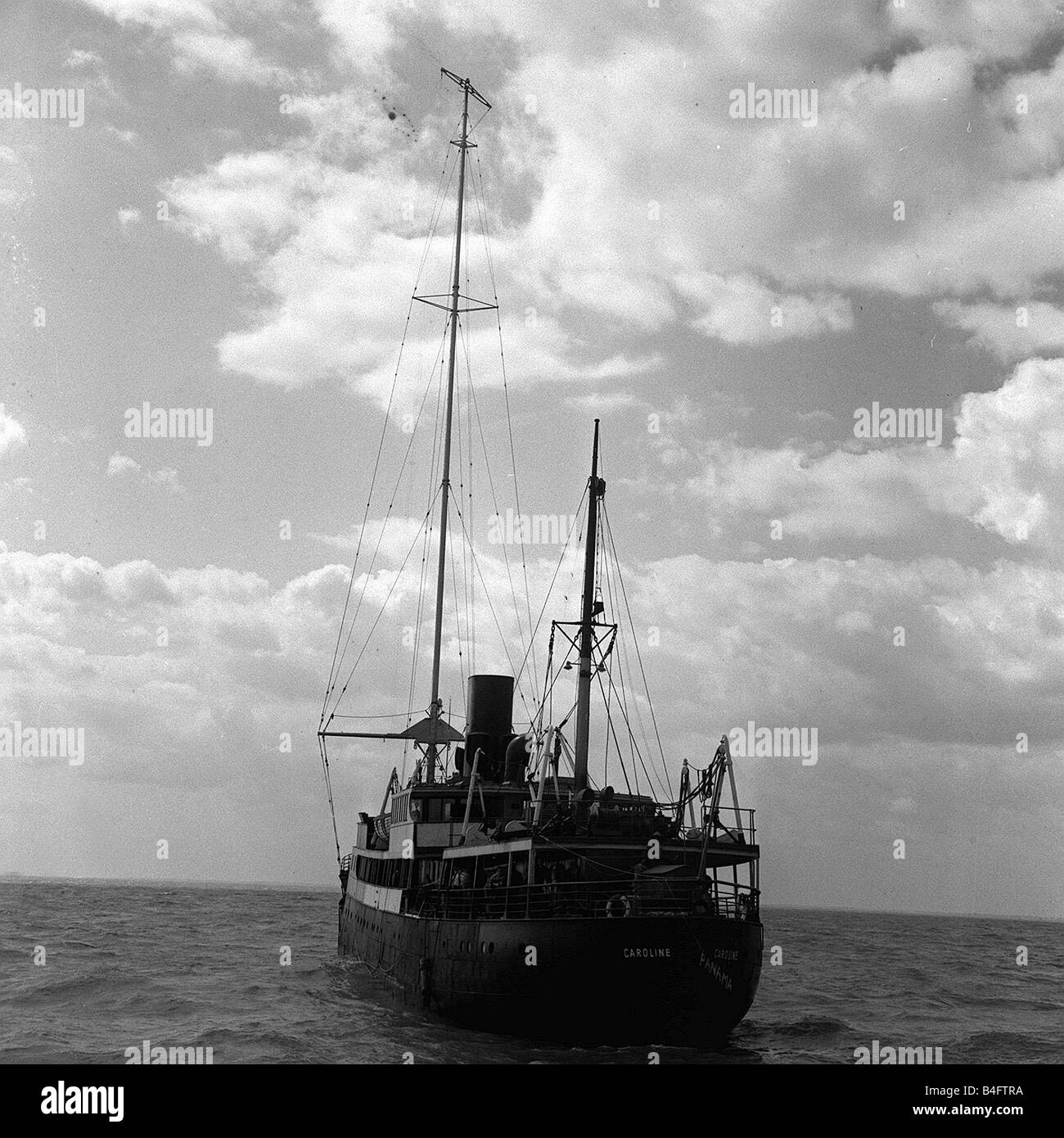M V Caroline the ship that was used for pirate radio station in 1964 it was anchored five miles from the east coast - Stock Image