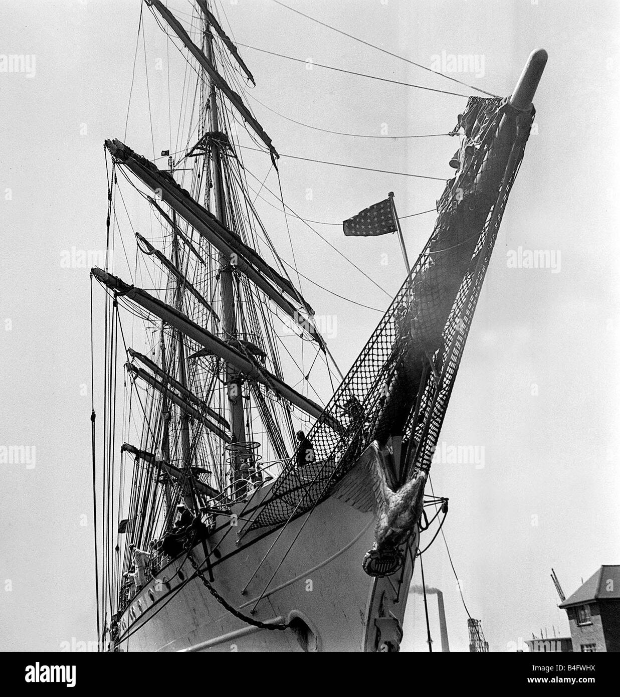 The US sailing ship SS Eagle arriving at Greenwich on the River Thames Circa 1955 - Stock Image
