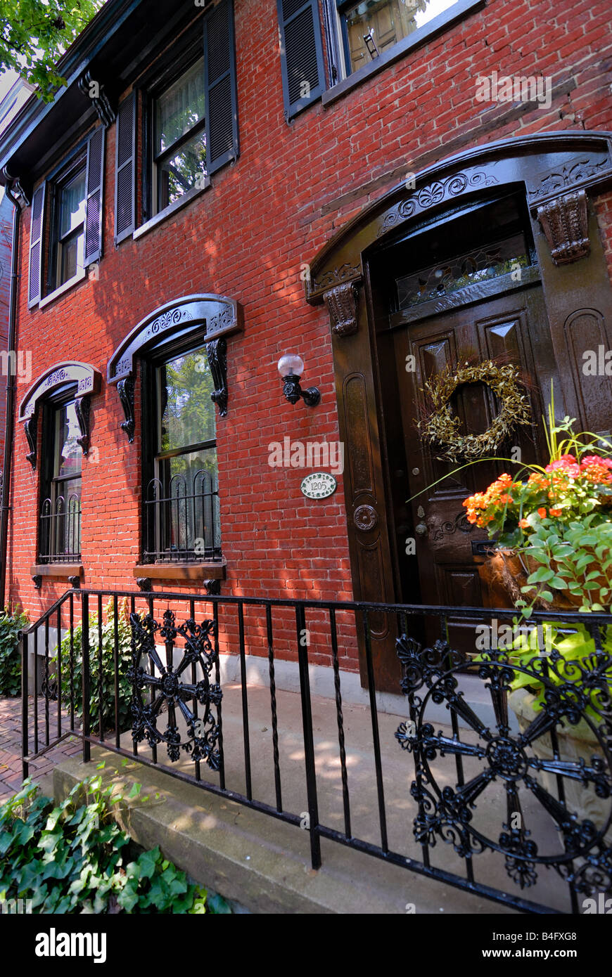 This historic Victorian home is located in Pittsburgh, Pennsylvania' s Mexican War Streets neighborhood. - Stock Image
