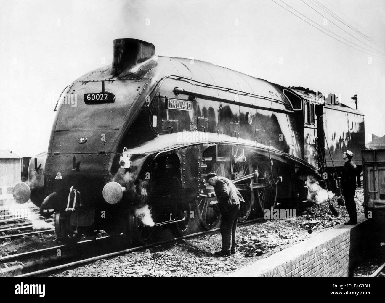 The Mallard steam train world record holder for steam locomotives at 126 mph in 1938 seen here in March 1965 - Stock Image