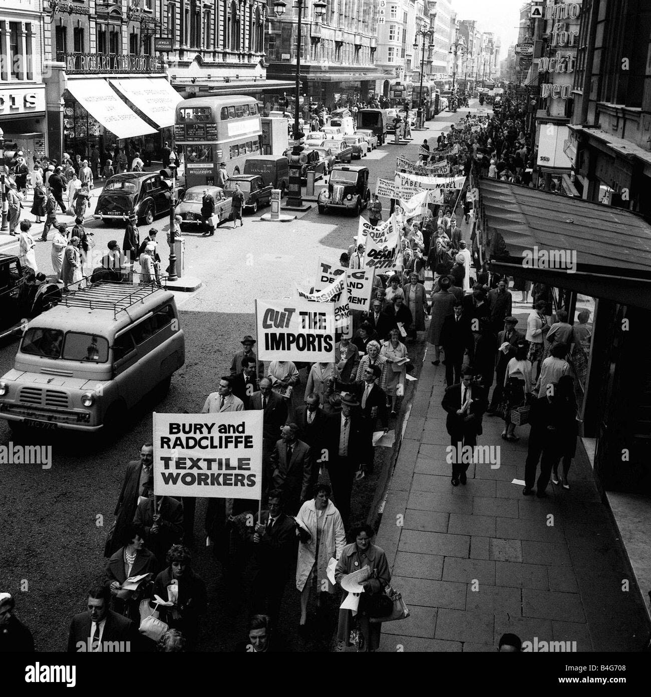 Lancashire textile workers arrived in London to protest over the growing volume of textile products that were being Stock Photo
