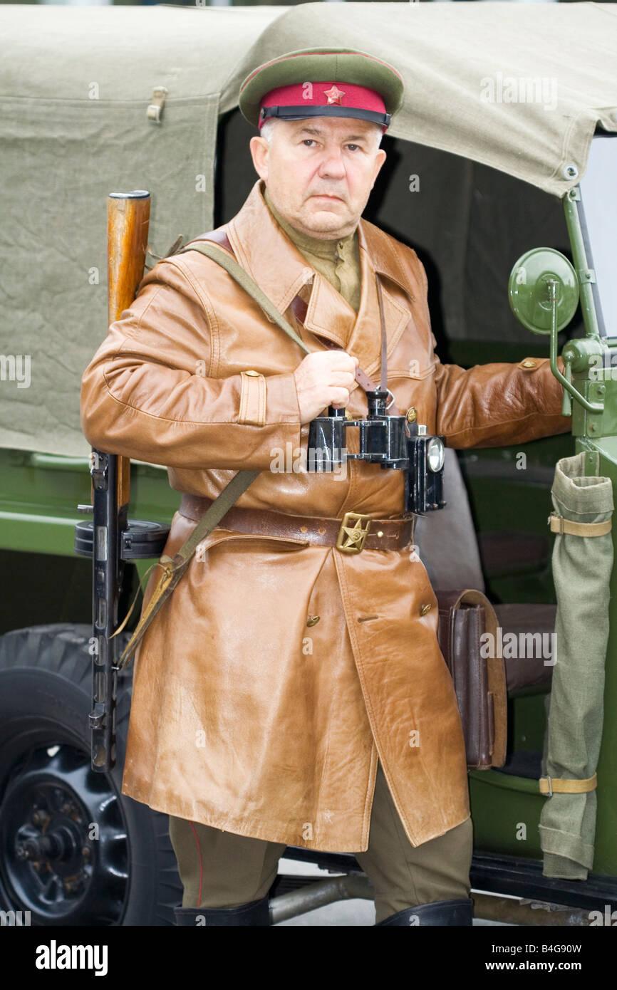 KGB commander officer partizan soldier World War 2 - Stock Image