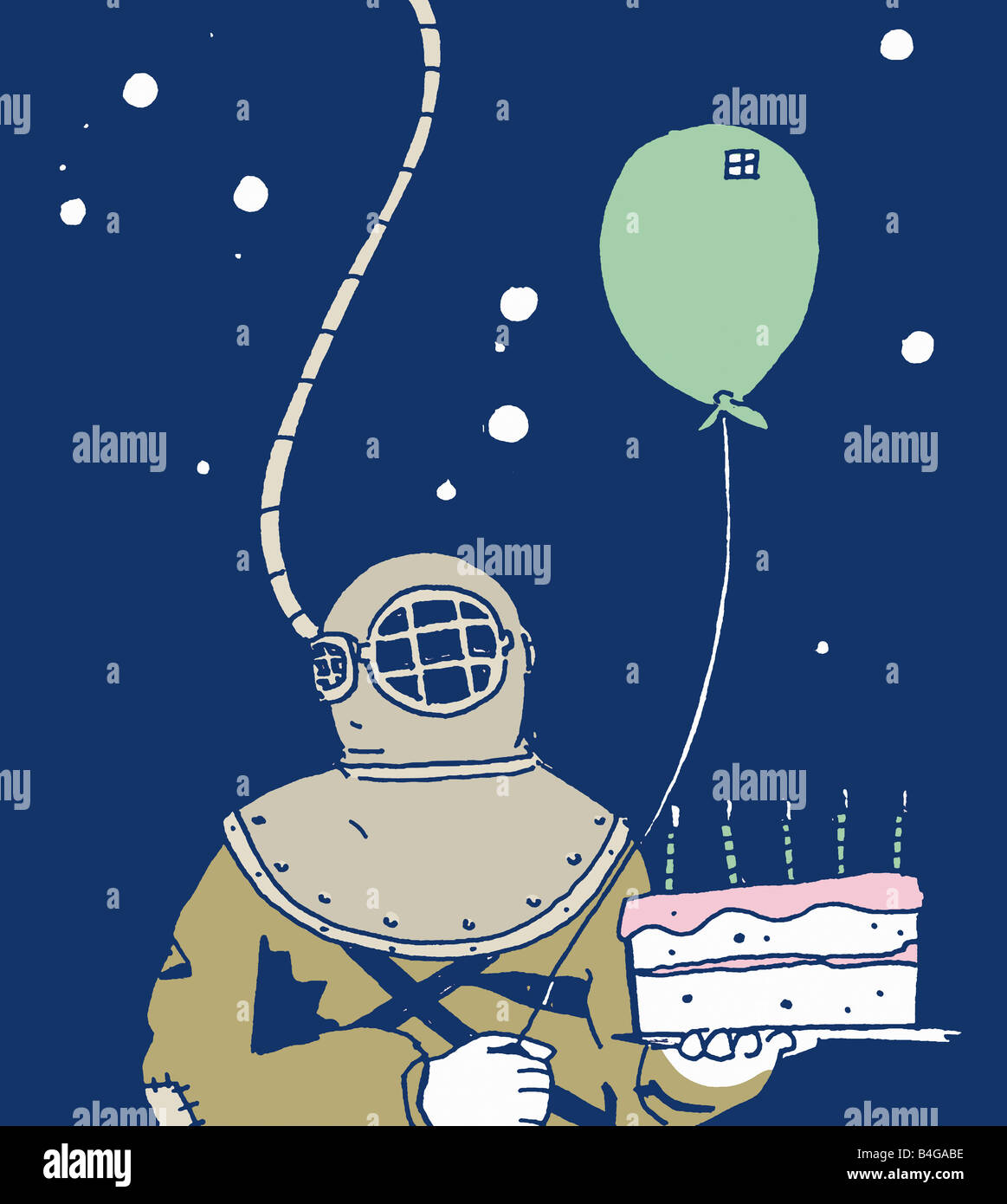 An Old Fashioned Scuba Diver Holding A Birthday Cake And A
