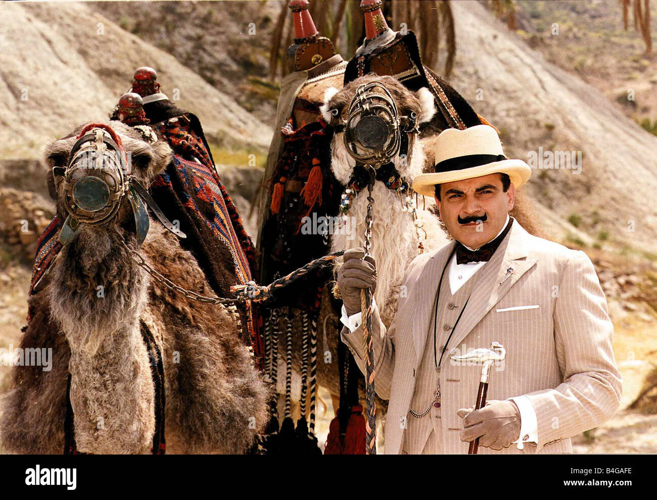 David Suchet actor plays the part of Poirot the detective - Stock Image
