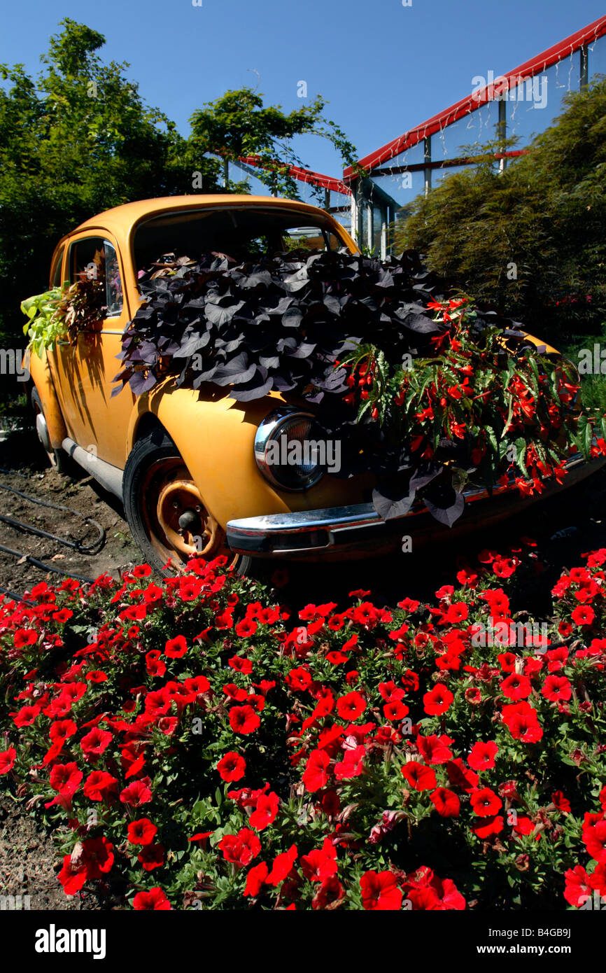 VW Beetle used to advertise a garden centre, Postal-Burgstall, Italy - Stock Image