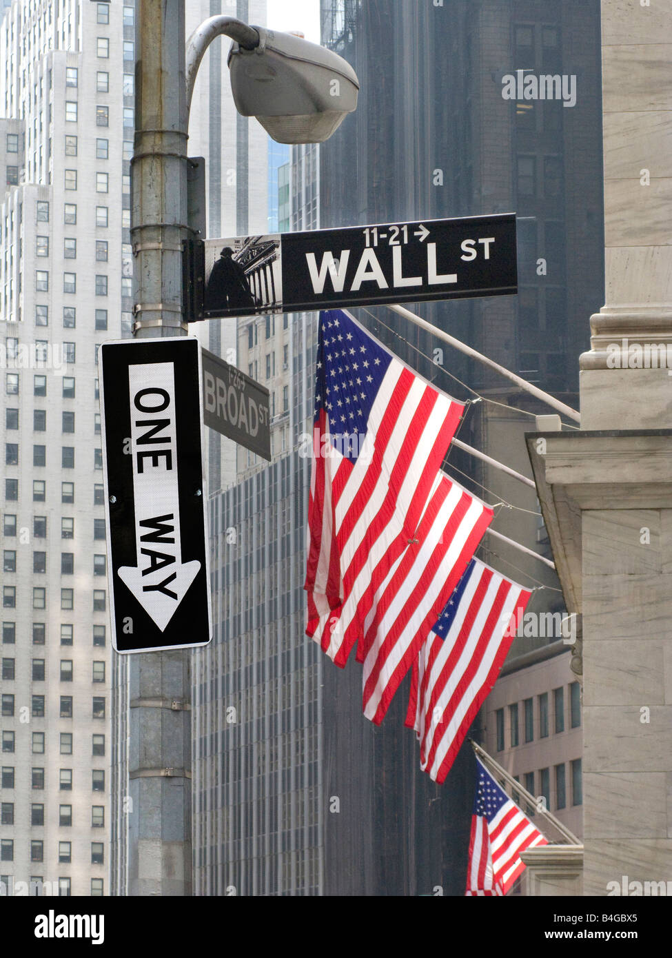 Wall Street corner with traffic one-way sign pointing down - Stock Image