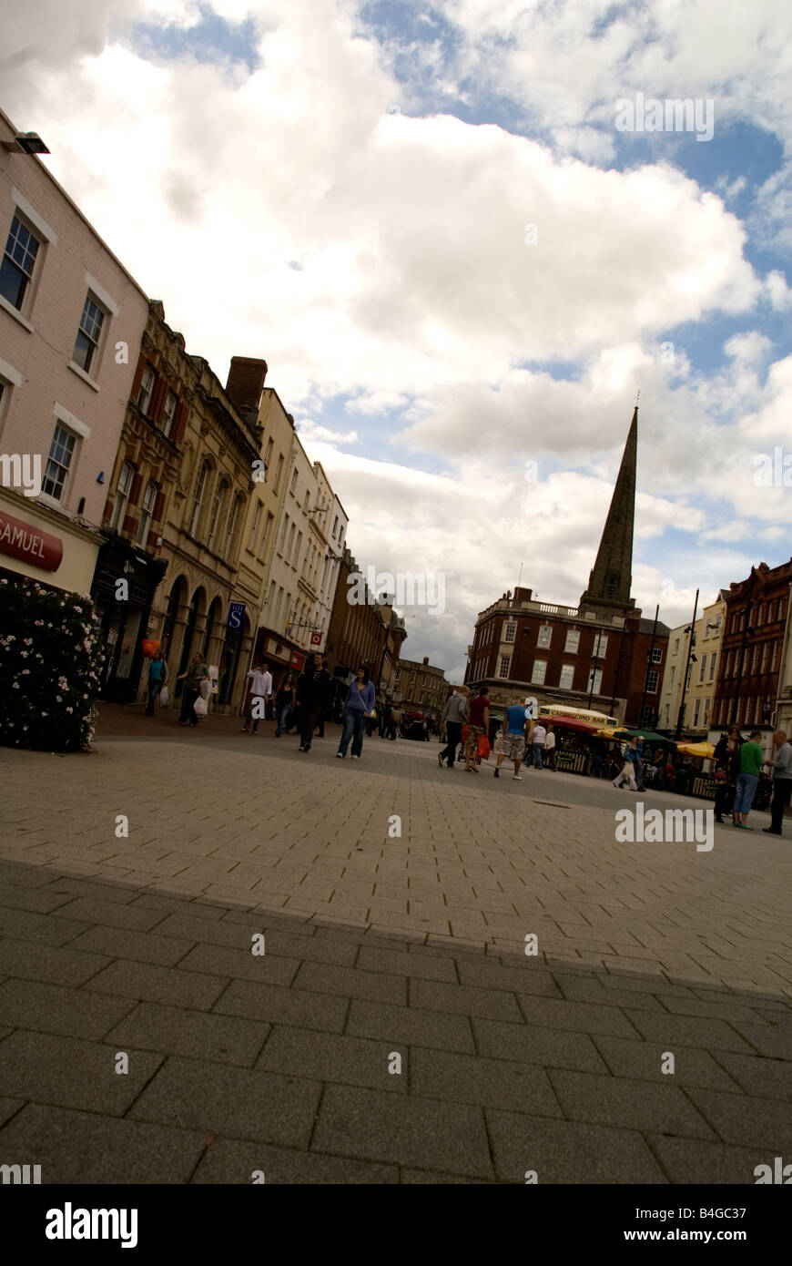 High Town Hereford with the spire of All Saints church in the background - Stock Image