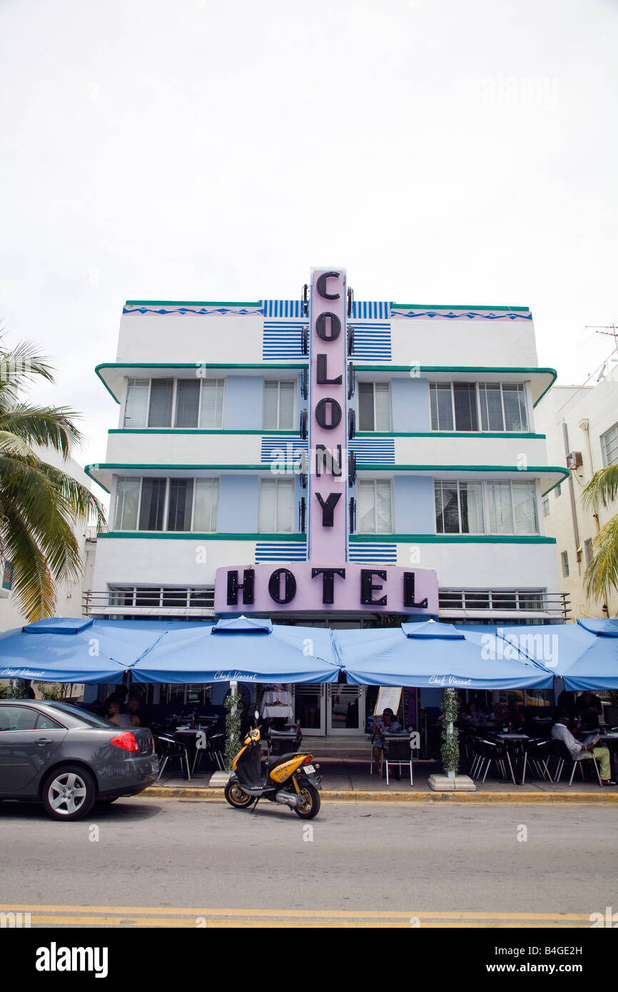 Colony Hotel, South Beach, Miami, Florida - Stock Image